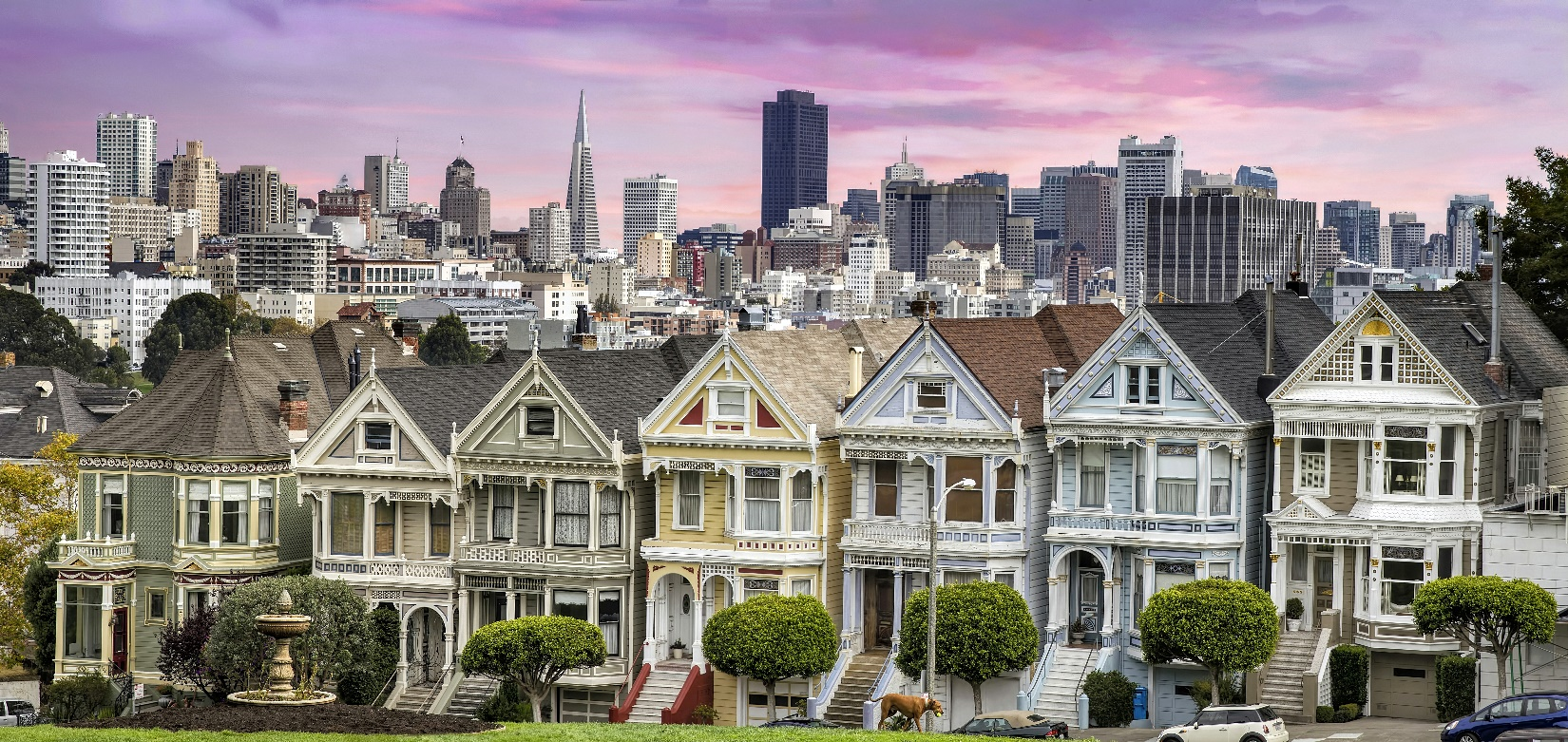 Row of colorful houses, called Painted Ladies, in San Francisco