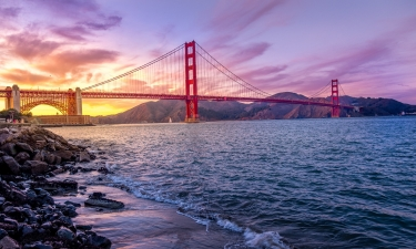 Golden Gate Bridge Beneath a Purple Sky