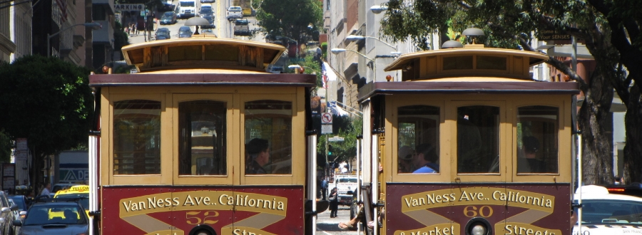 Two San Francisco cable cars
