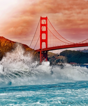 Golden Gate Bridge with Water Splashing on Rocks