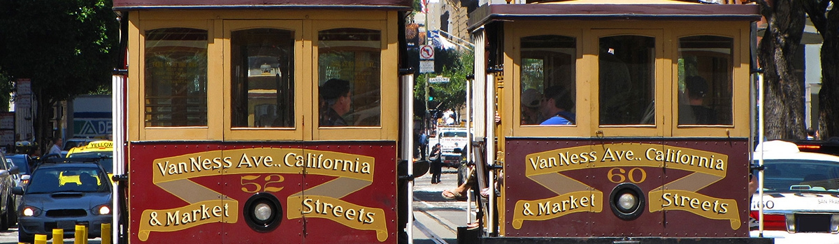 Two San Francisco cable cars - a San Francisco attraction