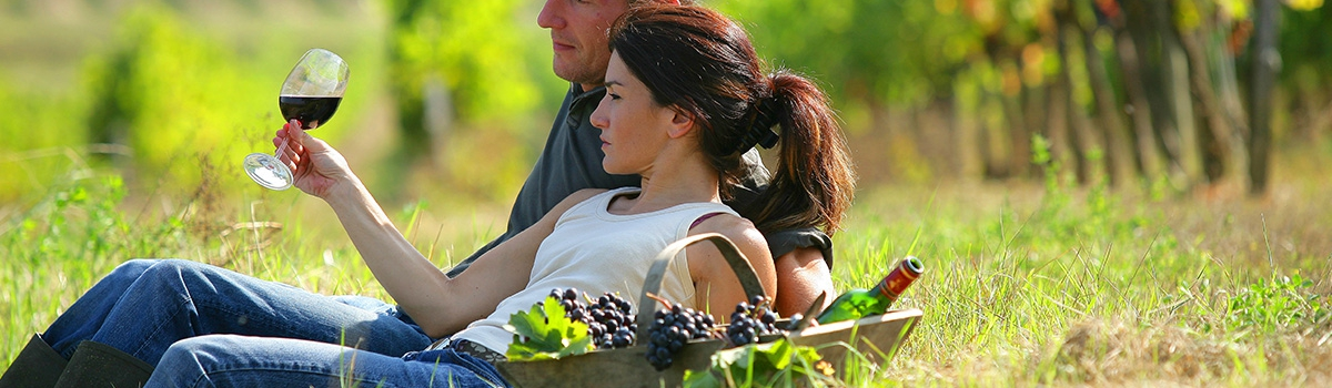 Couple Drinking Wine in Napa Valley