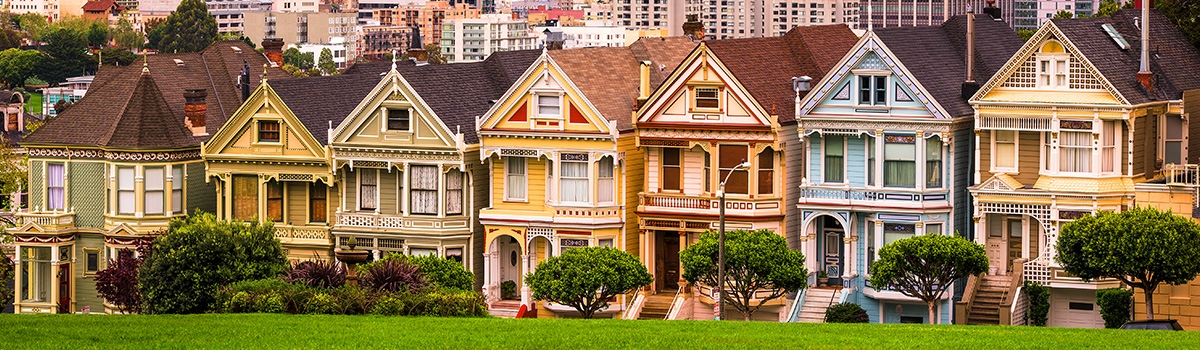 Row of Painted Ladies - colorful houses in a San Francisco neighborhood