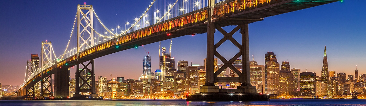 Evening view of San Francisco and the Golden Gate Bridge