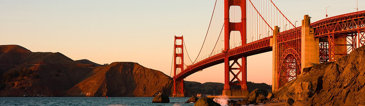 Dusk view of San Francisco's Golden Gate Bridge