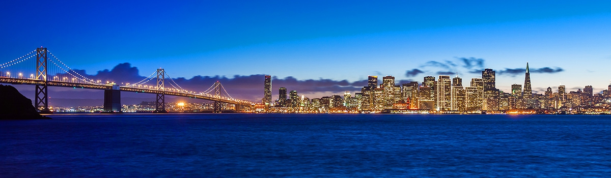 Evening view of San Francisco skyline and the Golden Gate Bridge
