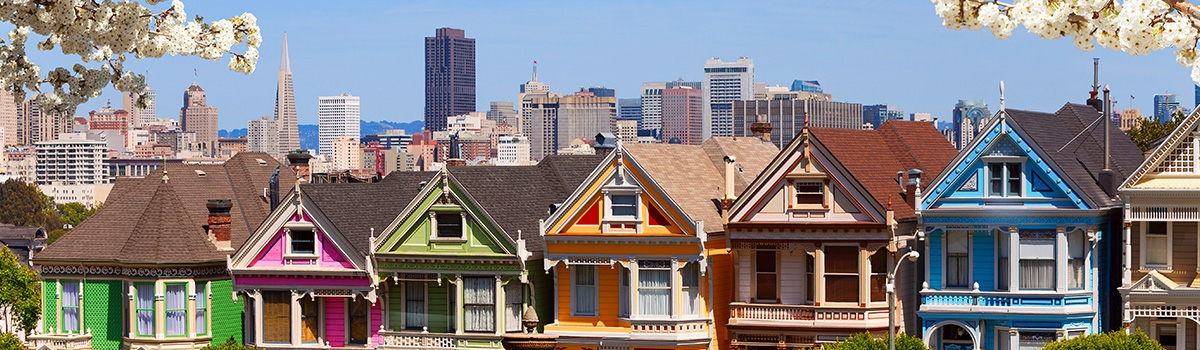 Row of Painted Ladies - colorful homes in San Francisco
