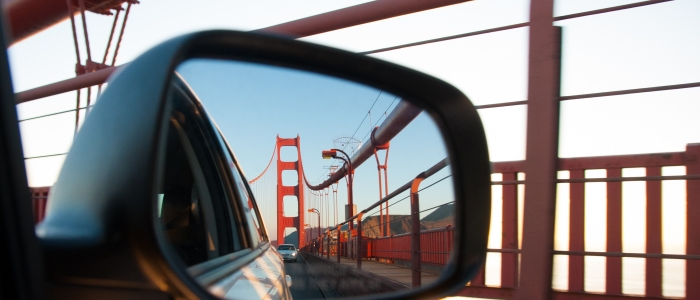 Golden Gate Bridge in Car's Rearview Mirror
