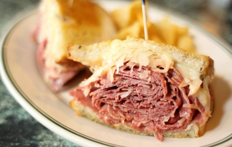 Deli Sandwich piled high with pastrami
