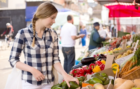 Woman at Farmers Market, Shopping in San Francisco